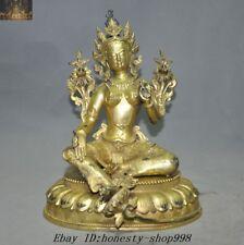 Old Tibet Temple Bronze Gilt 24K Gold Green tara Kwan-yin Goddess Buddha Statue
