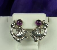 1940s TAXCO Earrings 980 STERLING AMETHYST Gems Traditional Mexican Design FAB!