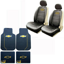 New 8pc Chevy Elite Bowtie Logo Front Back Rubber Floor Mats & Seat Cover Set