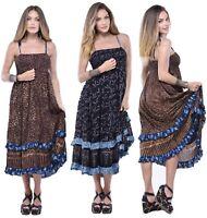 Boho Maxi 3/4 Length Dress Ruffled Smocked Bali Batik Spaghetti Straps Y782