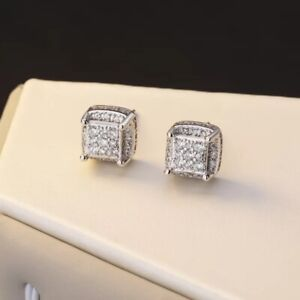 9K  WHITE GOLD FILLED ICED OUT SQUARE STUD EARRINGS MADE WITH SWAROVSKI CRYSTALS
