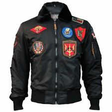 Top Gun Official B 15 Mens Flight Bomber Jacket with Patches