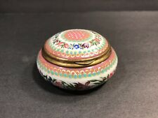 Antique French Silver And Enamel Snuff Box/ Round/ France Circa 1870