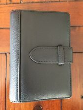 Aquascutum Black Leather Filofax Style Personal Organiser Approx A6 Size REDUCED