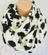 Luxury Faux Fur Cow Print Double Length Circle Infinity Scarf Snood