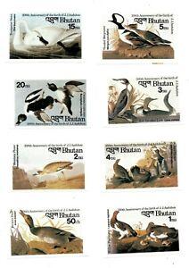 Bhutan 1985 SC# 506-13 Birds Flora & Fauna J.J. Audubon - Imperf Set of 8 MNH