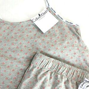 NWT Women's Calvin Klein Gray Pajama SET PJ Sleep Tank Top Lounge Shorts CK