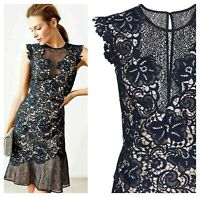 ex Reiss June Lace Embroidered Frill Hem Occasion Cocktail Dress RRP£250