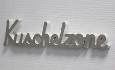 DEKO Tischdeko Schriftzug Kuschelzone Weiss/grau 40x11cm 3d-optik Shabby Chic