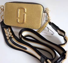 BNWT Marc Jacobs Logo Strap Snapshot Metallic Gold Leather Crossbody Bag