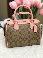 NWT Coach Khaki Petal Pink Signature Mini Bennett Bag F32203 -New $298