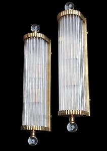 Pair Vintage Old Art Deco Brass & Glass Rod Ship Light Fixture Wall Sconces Lamp