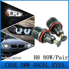 80W H8 HID Xenon Angel Eyes Halo Ring Bulbs For BMW E60 E61 LCI 525 528 530 535