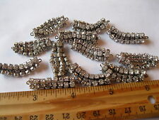 16 Vtg. Swarovski Rhinestone  4 strand  2 loop Sterling plate chain pieces.