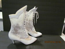 "Women's Lace Gothic Boots Victorian Steampunk 2.5"" Heel Lace Up Boots Size 7.5"""