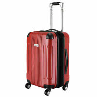 """GLOBALWAY Red Expandable 20"""" ABS Carry On Luggage Travel Bag Trolley Suitcase"""