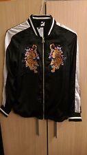 H&M Embroidered Tiger Baseball Bomber Jacket black satin  uk 10 new tags