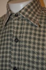 Sears Chambray Houndstooth Hunting Farm Flannel Work M Shirt USA VTG 50s 60s