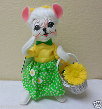 """NWT! 2013 Annalee 8"""" """"White Easter Mouse"""" Doll Figurine #202413 Adorable! A"""