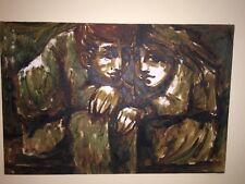 "Vintage PAINTING MID CENTURY MODERN Signed Ernest Children Eames Era 36"" x 24"""