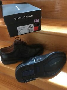 Bostonian Black Leather Shoes Como Size 13 SW Wide New