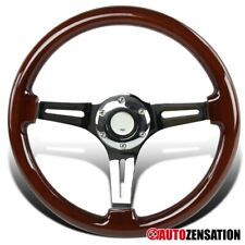 340MM Classic Wooden Style 6-Bolt Hub Chrome Spoke Racing Steering Wheel