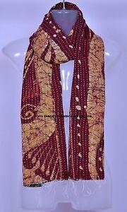 Indian Vintage Kantha Scarf Sari Stole Women Shawl Kantha Work Embroidered Throw