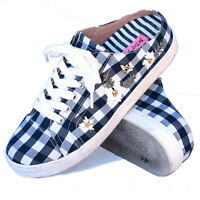 Betsey Johnson Edna Slip-on Gingham Sneakers Daisy Bee Shoes Navy Size US 7