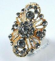 Charming Adjustable Gold Filled CZ GP Rhinestone Finger Cocktail Ring Party gift