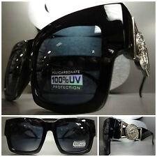 CLASSIC VINTAGE GANGSTER HIP HOP RAPPER PARTY SUN GLASSES Black Frame Dark Lens