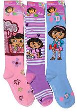 DORA THE EXPLORER 3 PAIR SET GIRL KIDS KNEE HIGH SOCKS SIZE 6-8 SHOE SIZE 10.5-4