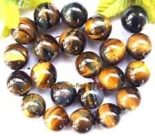"round 18mm natural yellow Tiger eye loose Beads 15"""