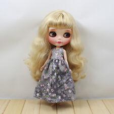 "Takara 12""Blythe Doll Factory Outfit 1 pcs flower long grey dress new hot sale"