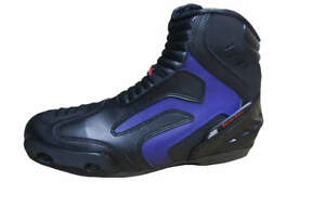 CLK Men's High Performance Motorcycle Boots Black & Blue Shoes