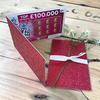 Red Glitter Scratch Card Holder Glitter Wedding Favor Lottery Ticket Holder
