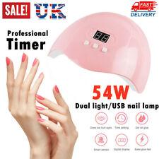 54W LED Nail Dryer UV Light Lamp Curing Gel Nail Polish Professional Timer UK