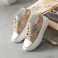 Women Floral Hidden Heel Flat Clunky Sneaker Lace Up Casual Comfort Sequins Shoe