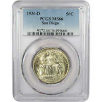1936 D 50c San Diego California Pacific Exposition Silver Half MS 66 PCGS