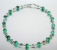 Halskette Perlenkette Perlen grün dunkelgrün Metallrahmen silber 436m