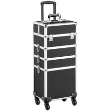 4 in 1 Aluminum Rolling Makeup Trolley Train Case Box Organizer Salon Cosmetic