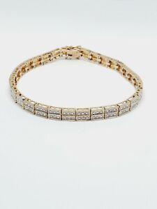 "Ross Simons 825 Sterling Silver Diamond Illusion Tennis Bracelet 8.25"" (102)"