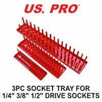 "US PRO Tools 3pc Socket Storage Rack Tray For 1/4"" - 3/8"" - 1/2"" Sockets 2219"