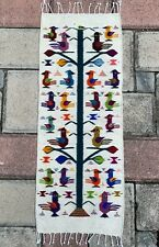"Zapotec Oaxacan 15""x40"" Hand Woven Tree of Life Wool Weaving Tapestry Rug Runner"