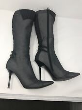 014a76fc0e6 Casadei Women s Stiletto Knee High Black Denim Boots Size 8B