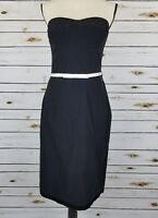 Express Womens Dress Size 9-10 Black Strapless White Satin Belt Stretch Sheath