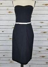 Express Womens Dress Size 9 10 Black Strapless White Satin Belt Stretch