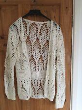 White Wool Full Crochet Mesh Cardigan 10 12 Boho Hippie Festival Beach
