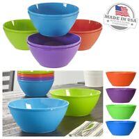 Plastic Soup Bowls Cereal Fruit Bowl Unbreakable Microwavable Multi-Color 8pc