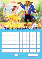 Beauty and the beast personalised reward behaviour chart Free Pen, Stickers,tabs