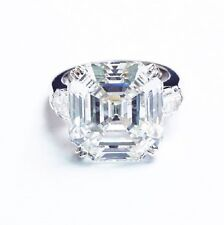 2.80 Ct 3 Stone Natural Asscher Cut Diamond Engagement Ring EGL USA H, IF 14k WG